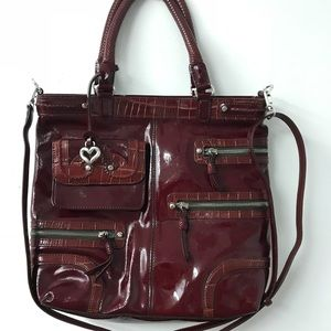 Brighton Red Leather Tote Bag Purse Crossbody